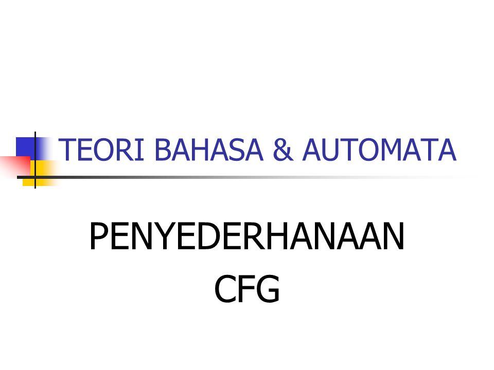 TEORI BAHASA & AUTOMATA PENYEDERHANAAN CFG