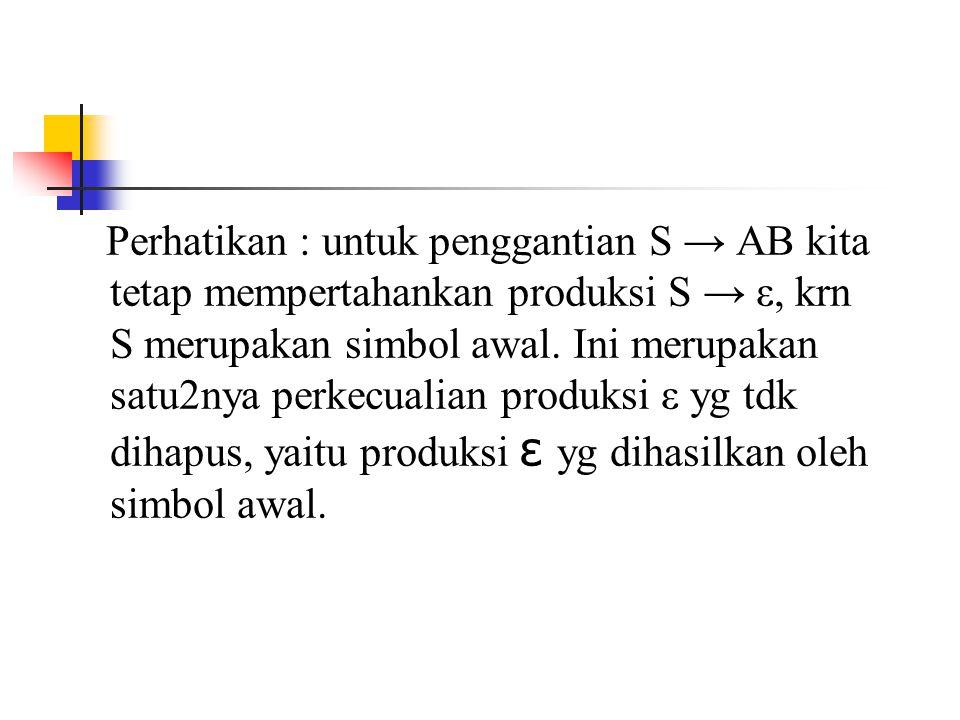 Perhatikan : untuk penggantian S → AB kita tetap mempertahankan produksi S → ε, krn S merupakan simbol awal.