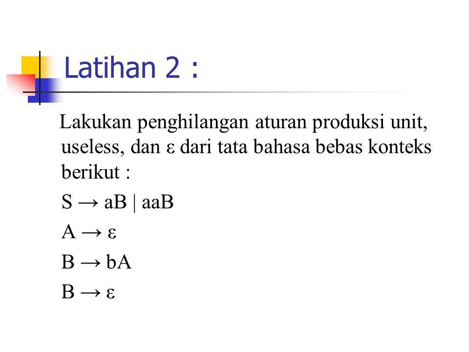 Latihan 2 : Lakukan penghilangan aturan produksi unit, useless, dan ε dari tata bahasa bebas konteks berikut : S → aB | aaB A → ε B → bA B → ε