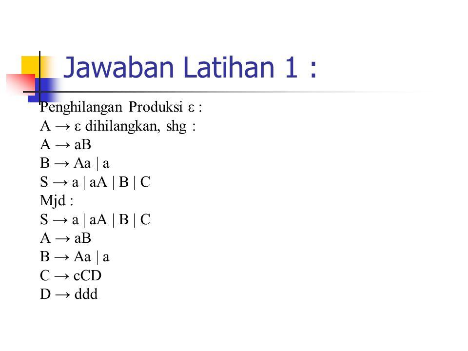 Jawaban Latihan 1 : Penghilangan Produksi ε : A → ε dihilangkan, shg : A → aB B → Aa | a S → a | aA | B | C Mjd : S → a | aA | B | C A → aB B → Aa | a