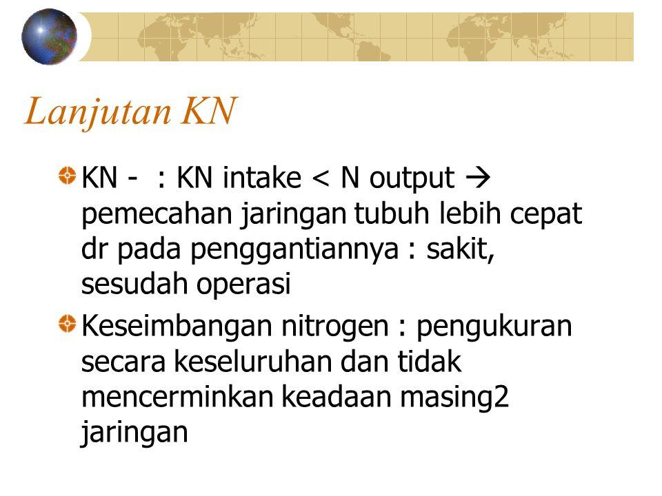 Lanjutan KN KN - : KN intake < N output  pemecahan jaringan tubuh lebih cepat dr pada penggantiannya : sakit, sesudah operasi Keseimbangan nitrogen :