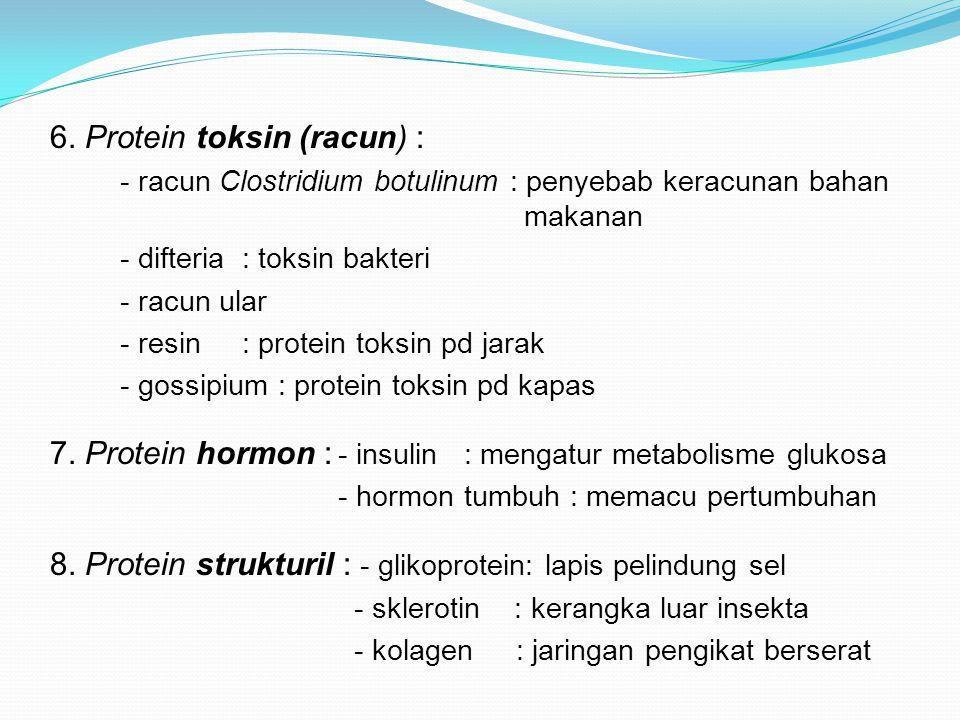 6. Protein toksin (racun) : - racun Clostridium botulinum : penyebab keracunan bahan makanan - difteria: toksin bakteri - racun ular - resin: protein
