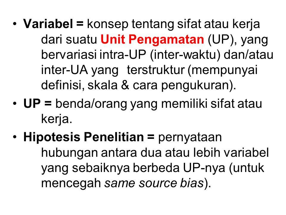 Variabel = konsep tentang sifat atau kerja dari suatu Unit Pengamatan (UP), yang bervariasi intra-UP (inter-waktu) dan/atau inter-UA yang terstruktur (mempunyai definisi, skala & cara pengukuran).