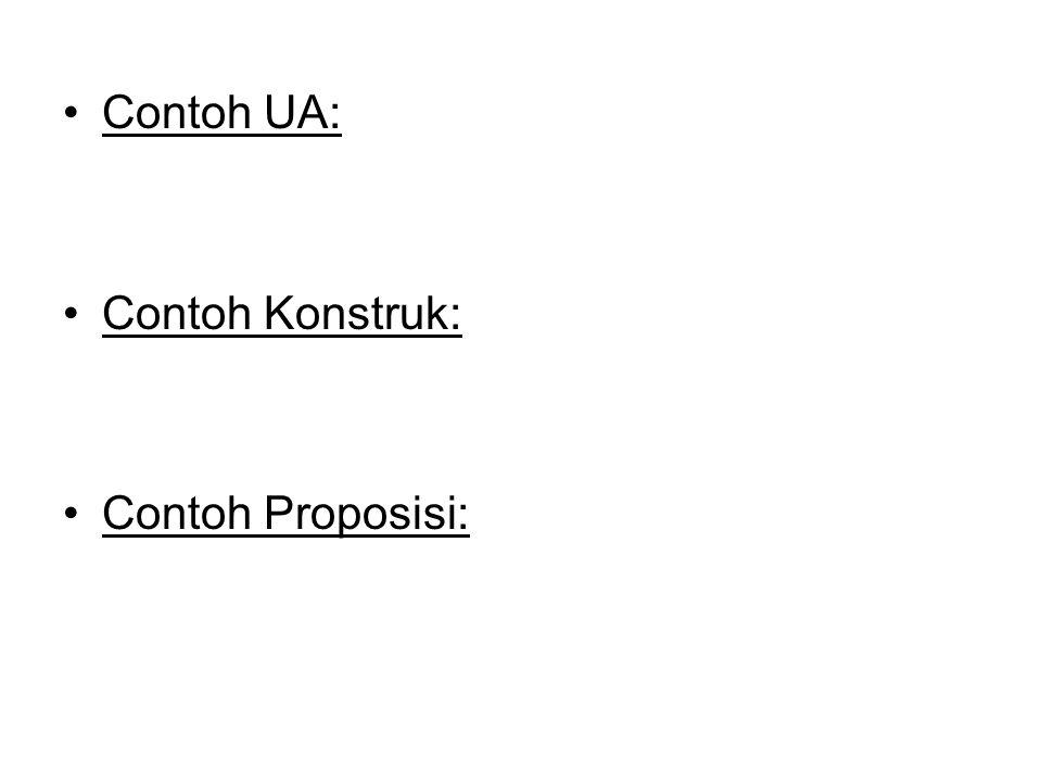 Contoh UA: Contoh Konstruk: Contoh Proposisi: