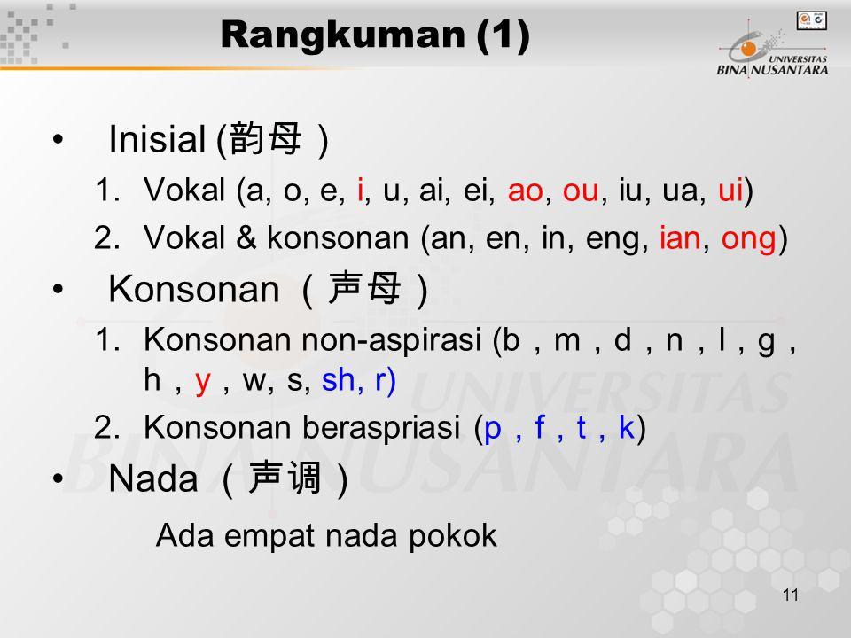 11 Rangkuman (1) Inisial ( 韵母) 1.Vokal (a, o, e, i, u, ai, ei, ao, ou, iu, ua, ui) 2.Vokal & konsonan (an, en, in, eng, ian, ong) Konsonan (声母) 1.Konsonan non-aspirasi (b , m , d , n , l , g , h , y , w, s, sh, r) 2.Konsonan beraspriasi (p , f , t , k) Nada (声调) Ada empat nada pokok
