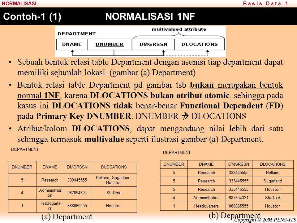 Copyright © 2005 PENS-ITS B a s i s D a t a - 1NORMALISASI Contoh-1 (1) NORMALISASI 1NF Sebuah bentuk relasi table Department dengan asumsi tiap department dapat memiliki sejumlah lokasi.