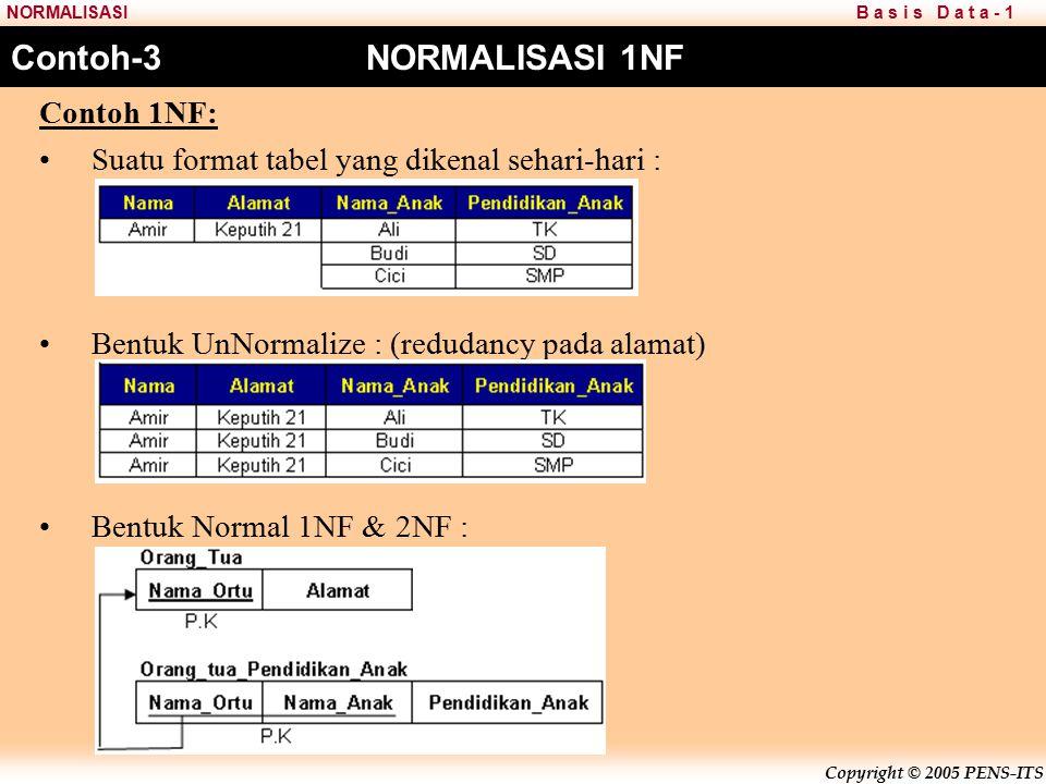 Copyright © 2005 PENS-ITS B a s i s D a t a - 1NORMALISASI Contoh-3 NORMALISASI 1NF Contoh 1NF: Suatu format tabel yang dikenal sehari-hari : Bentuk UnNormalize : (redudancy pada alamat) Bentuk Normal 1NF & 2NF :