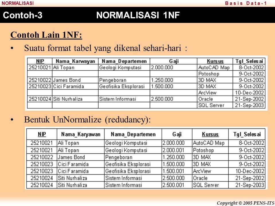 Copyright © 2005 PENS-ITS B a s i s D a t a - 1NORMALISASI Contoh Lain 1NF: Suatu format tabel yang dikenal sehari-hari : Bentuk UnNormalize (redudancy): Contoh-3 NORMALISASI 1NF