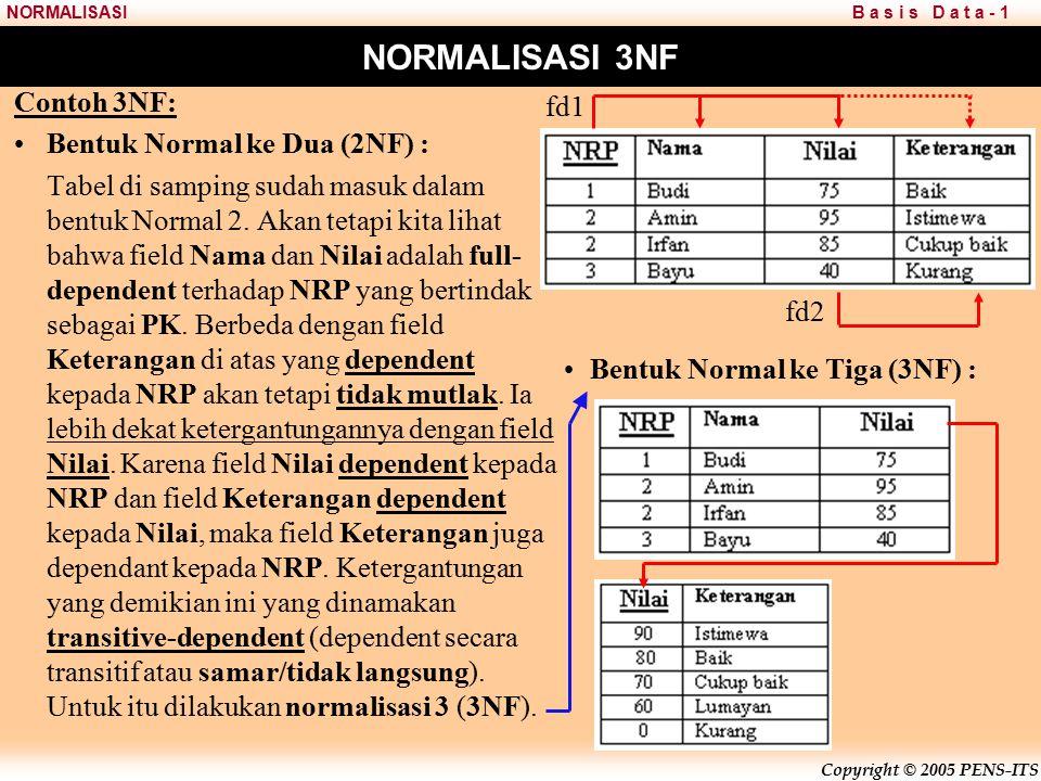 Copyright © 2005 PENS-ITS B a s i s D a t a - 1NORMALISASI NORMALISASI 3NF Contoh 3NF: Bentuk Normal ke Dua (2NF) : Tabel di samping sudah masuk dalam bentuk Normal 2.