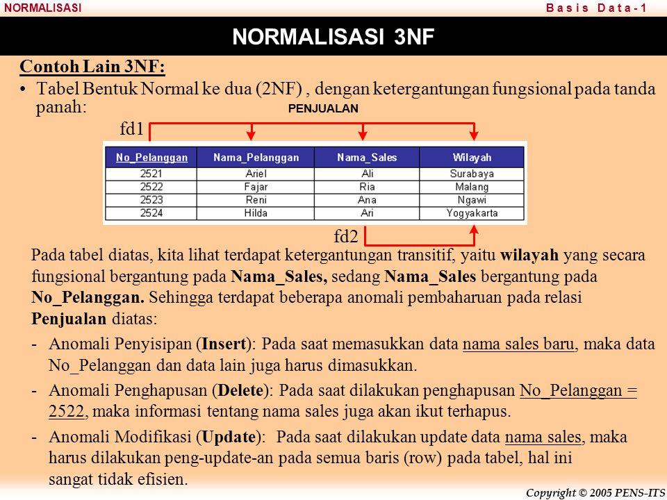 Copyright © 2005 PENS-ITS B a s i s D a t a - 1NORMALISASI NORMALISASI 3NF Contoh Lain 3NF: Tabel Bentuk Normal ke dua (2NF), dengan ketergantungan fungsional pada tanda panah: Pada tabel diatas, kita lihat terdapat ketergantungan transitif, yaitu wilayah yang secara fungsional bergantung pada Nama_Sales, sedang Nama_Sales bergantung pada No_Pelanggan.