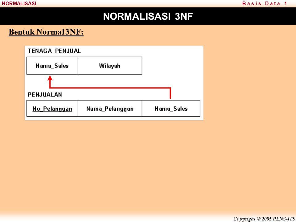 Copyright © 2005 PENS-ITS B a s i s D a t a - 1NORMALISASI NORMALISASI 3NF Bentuk Normal 3NF: