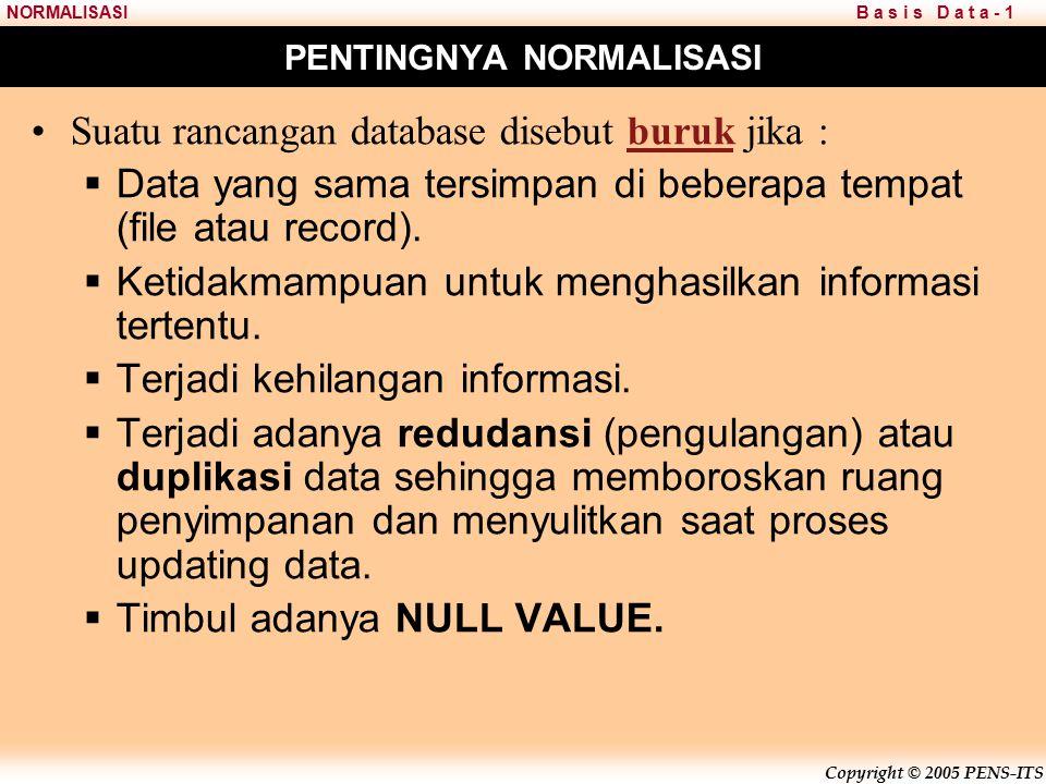 Copyright © 2005 PENS-ITS B a s i s D a t a - 1NORMALISASI PENTINGNYA NORMALISASI Suatu rancangan database disebut buruk jika :  Data yang sama tersimpan di beberapa tempat (file atau record).