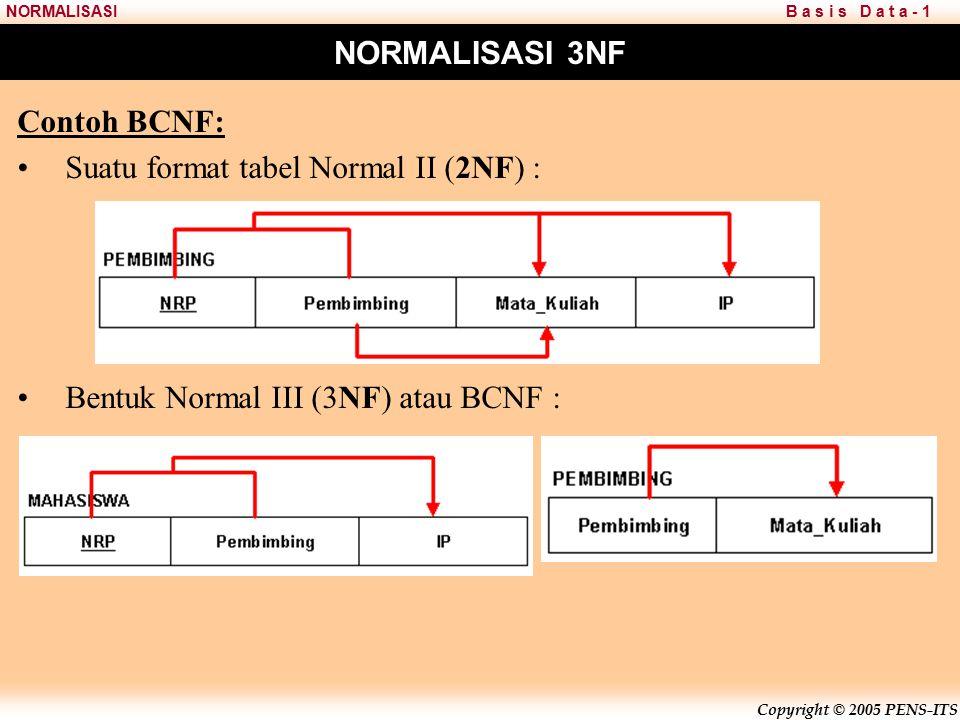 Copyright © 2005 PENS-ITS B a s i s D a t a - 1NORMALISASI NORMALISASI 3NF Contoh BCNF: Suatu format tabel Normal II (2NF) : Bentuk Normal III (3NF) atau BCNF :