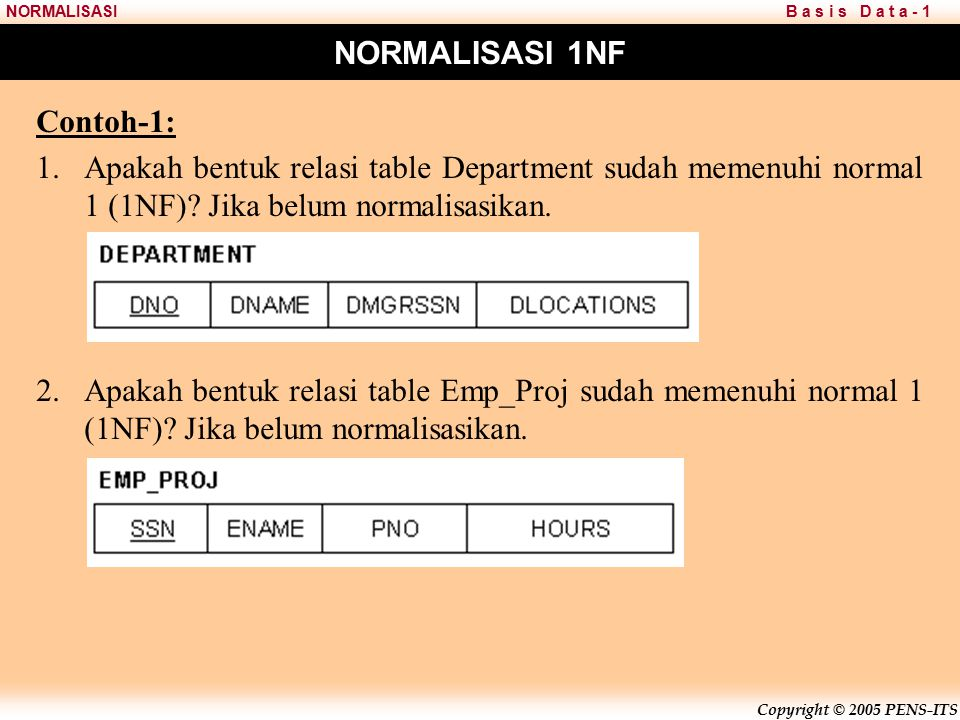 Copyright © 2005 PENS-ITS B a s i s D a t a - 1NORMALISASI 2 nd Normal Form (2NF)
