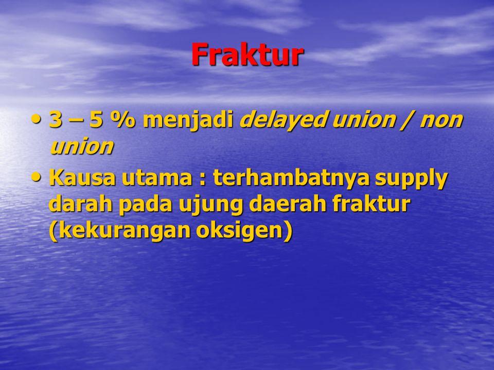 Fraktur 3 – 5 % menjadi delayed union / non union 3 – 5 % menjadi delayed union / non union Kausa utama : terhambatnya supply darah pada ujung daerah