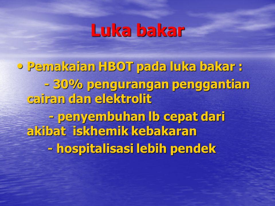 Luka bakar Pemakaian HBOT pada luka bakar : Pemakaian HBOT pada luka bakar : - 30% pengurangan penggantian cairan dan elektrolit - penyembuhan lb cepa