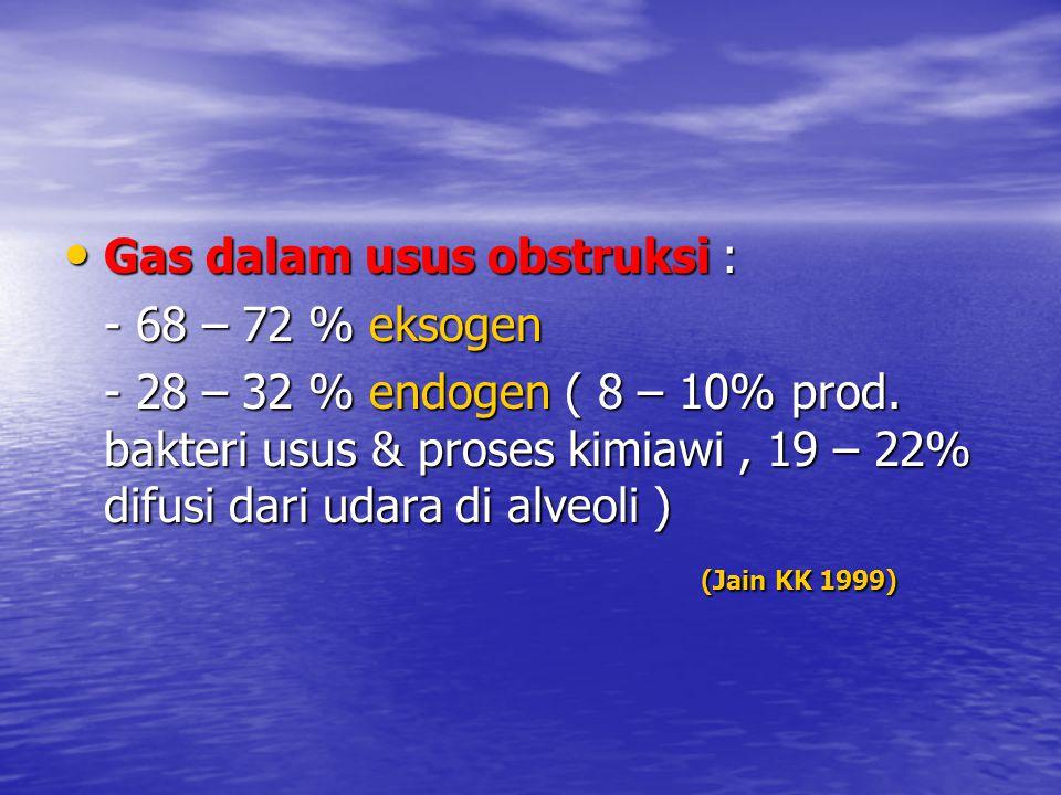 Gas dalam usus obstruksi : Gas dalam usus obstruksi : - 68 – 72 % eksogen - 28 – 32 % endogen ( 8 – 10% prod. bakteri usus & proses kimiawi, 19 – 22%