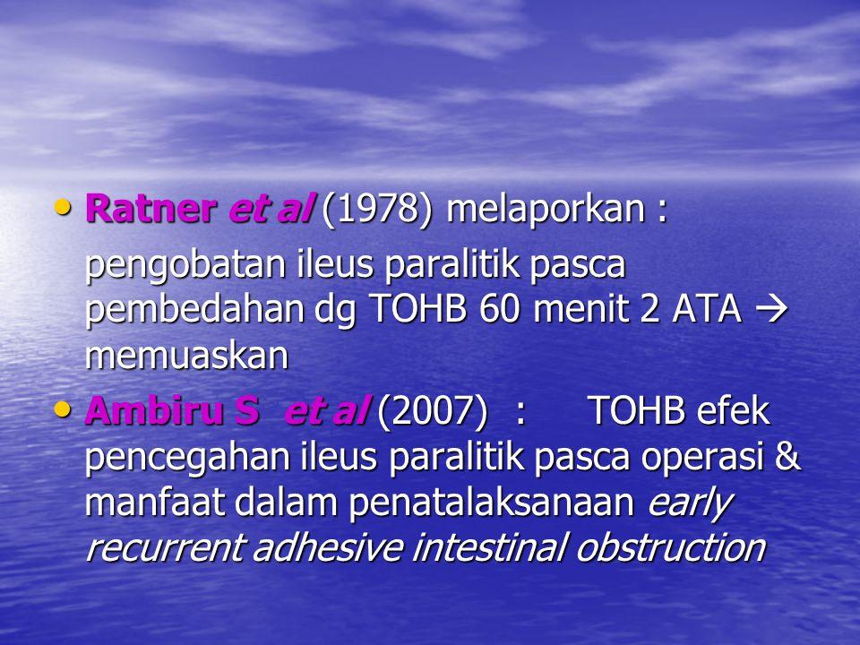 Ratner et al (1978) melaporkan : Ratner et al (1978) melaporkan : pengobatan ileus paralitik pasca pembedahan dg TOHB 60 menit 2 ATA  memuaskan Ambir