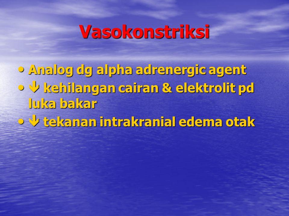 Vasokonstriksi Analog dg alpha adrenergic agent Analog dg alpha adrenergic agent  kehilangan cairan & elektrolit pd luka bakar  kehilangan cairan &