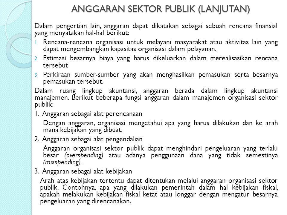 ANGGARAN SEKTOR PUBLIK (LANJUTAN) Dalam pengertian lain, anggaran dapat dikatakan sebagai sebuah rencana finansial yang menyatakan hal-hal berikut: 1.