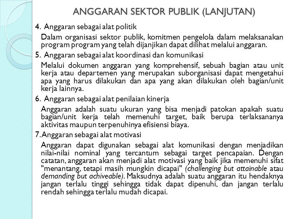 ANGGARAN SEKTOR PUBLIK (LANJUTAN) 4. Anggaran sebagai alat politik Dalam organisasi sektor publik, komitmen pengelola dalam melaksanakan program progr