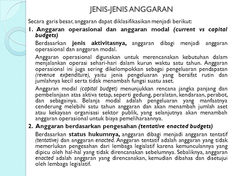 JENIS-JENIS ANGGARAN Secara garis besar, anggaran dapat diklasifikasikan menjadi berikut: 1. Anggaran operasional dan anggaran modal (current vs capit