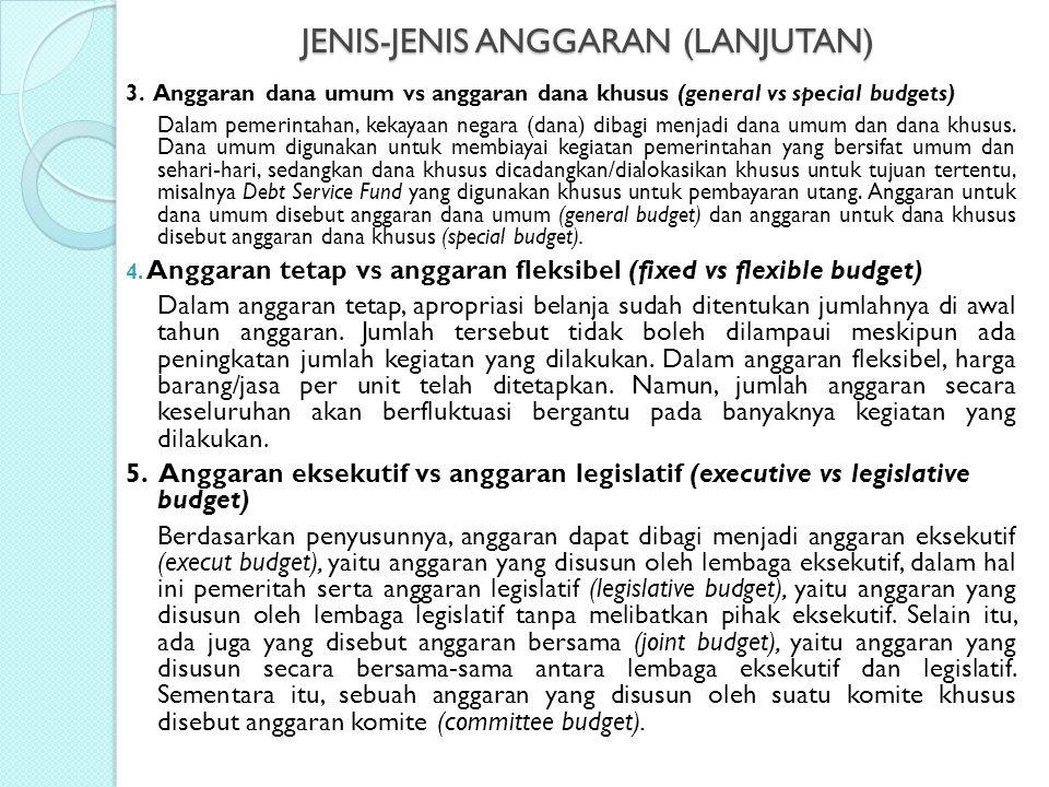 JENIS-JENIS ANGGARAN (LANJUTAN) 3. Anggaran dana umum vs anggaran dana khusus (general vs special budgets) Dalam pemerintahan, kekayaan negara (dana)