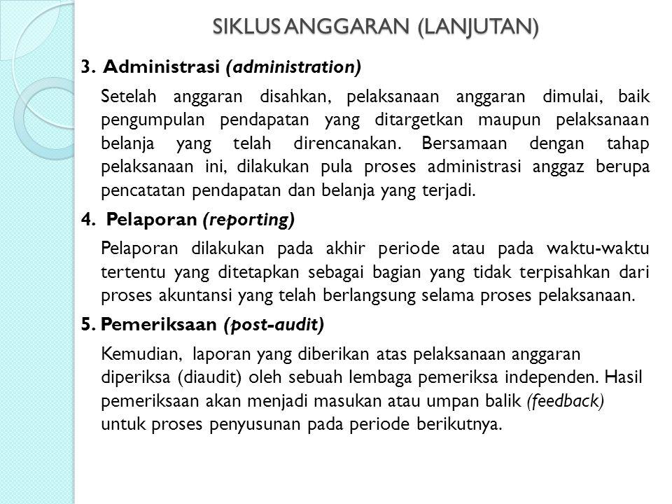 SIKLUS ANGGARAN (LANJUTAN) 3. Administrasi (administration) Setelah anggaran disahkan, pelaksanaan anggaran dimulai, baik pengumpulan pendapatan yang