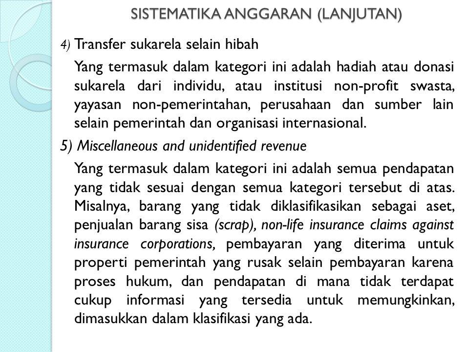 SISTEMATIKA ANGGARAN (LANJUTAN) 4) Transfer sukarela selain hibah Yang termasuk dalam kategori ini adalah hadiah atau donasi sukarela dari individu, a
