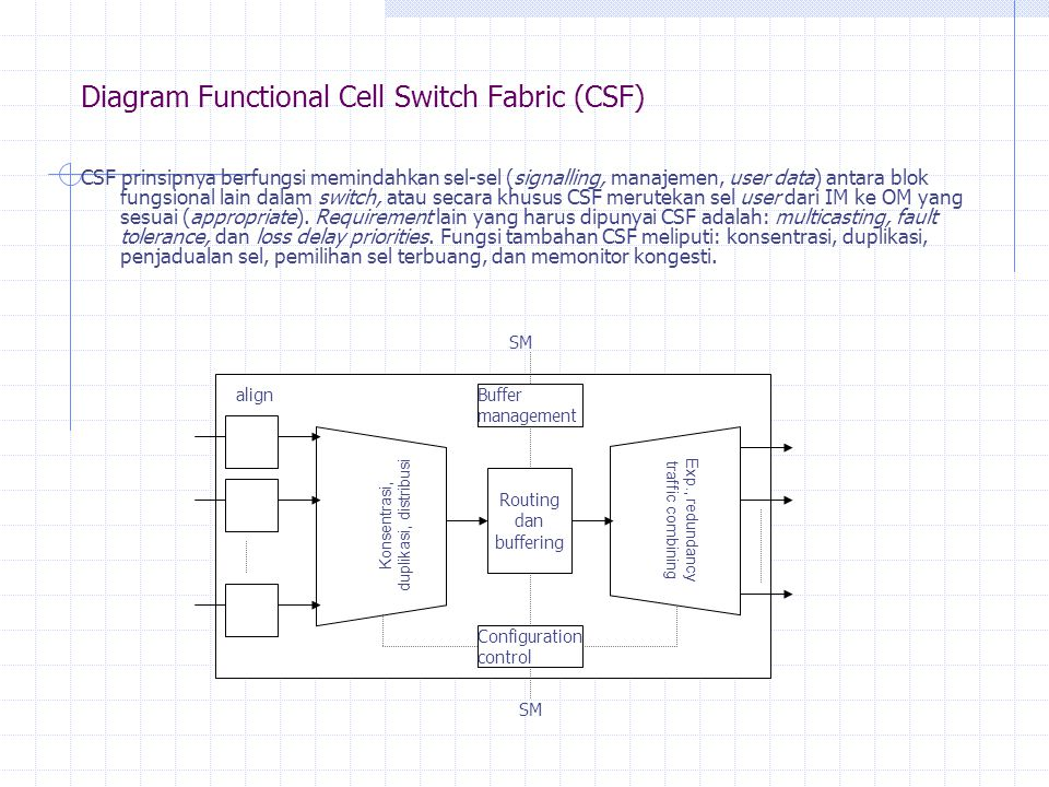 Diagram Functional Cell Switch Fabric (CSF) CSF prinsipnya berfungsi memindahkan sel-sel (signalling, manajemen, user data) antara blok fungsional lain dalam switch, atau secara khusus CSF merutekan sel user dari IM ke OM yang sesuai (appropriate).