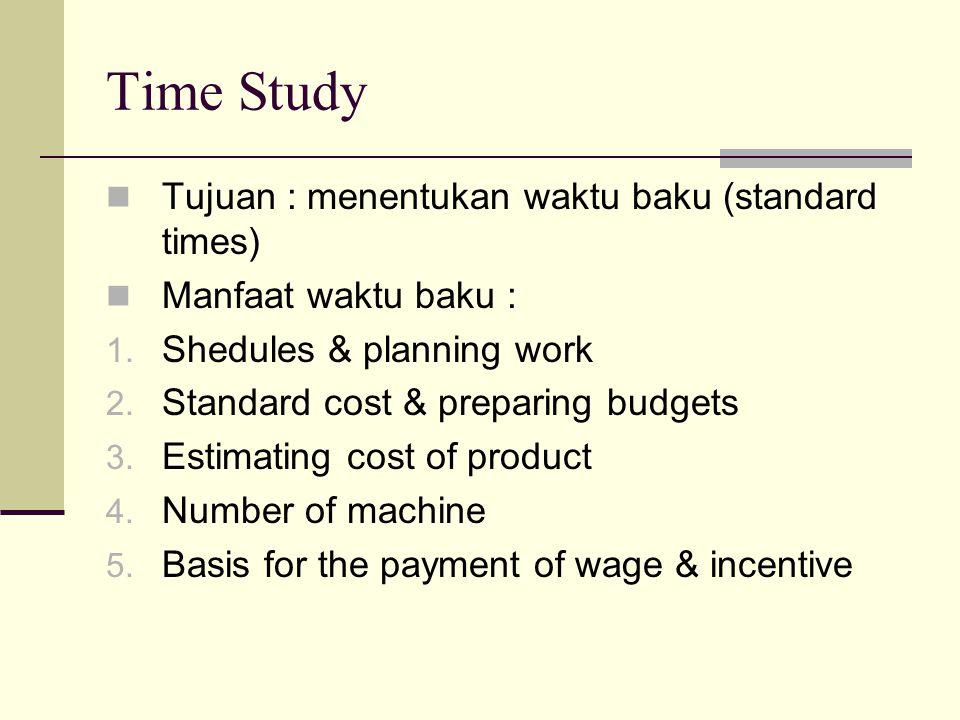 Time Study Tujuan : menentukan waktu baku (standard times) Manfaat waktu baku : 1. Shedules & planning work 2. Standard cost & preparing budgets 3. Es