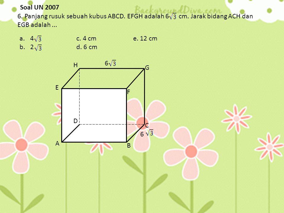 A D E F H P B C G P A α misal panjang rusuk adalah a Sin α = AP = ½ AC = ½ a AH = = = 2 = a= a Sin α = = α = 30 0 jawabannya adalah A