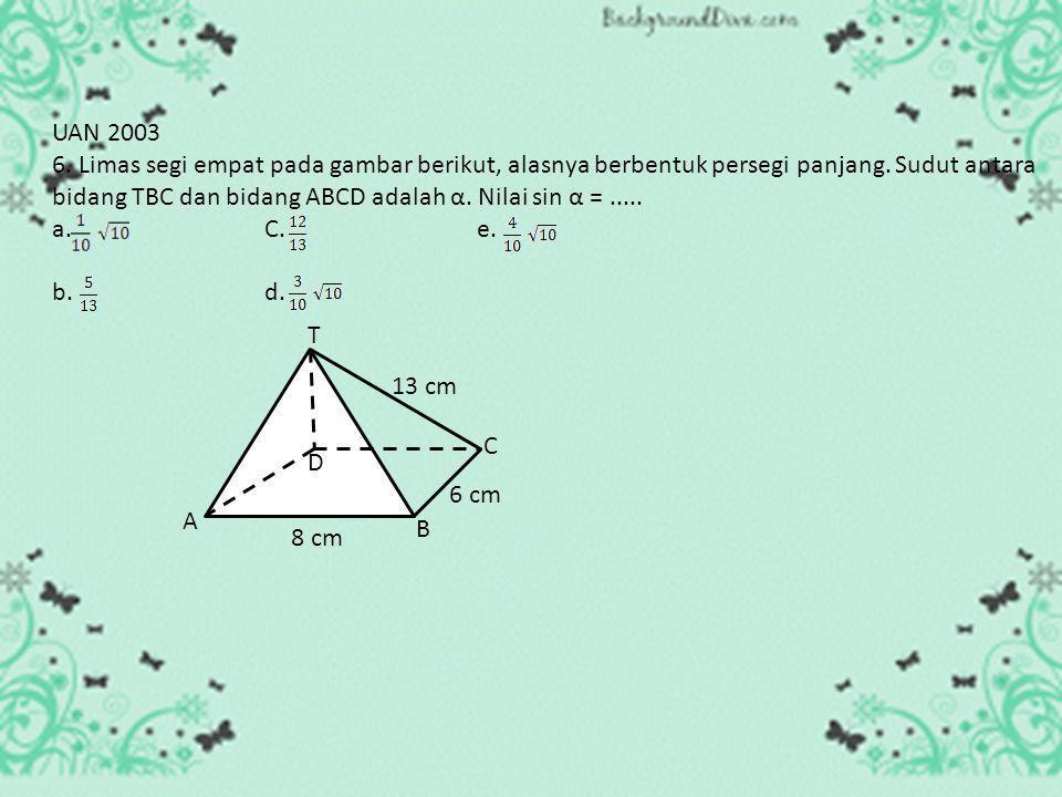 1. Garis potong antara TBC dan ABCD adalah garis BC A C D B T 8 cm 6 cm 13 cm F 2. Pada bidang TBC, buat garis tegak lurus garis potong BC, yaitu gari