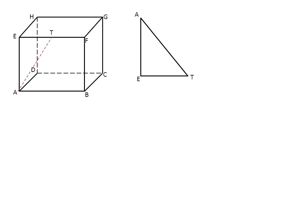 4. Diketahui kubus ABCD.EFGH dengan panjang rusuk cm dan T pada AD dengan panjang AT= 1 cm. Jarak A pada BT adalah … cm. A B C D E F H P G A. B. C. D.