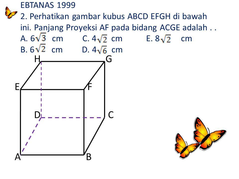 H G E F D C A B Panjang proyeksi DE pada BDHF adalah DD' : DH = 8 ; D'H = ½. FH = ½. 8 = 4 DD' = = = = 4 cm 8 4