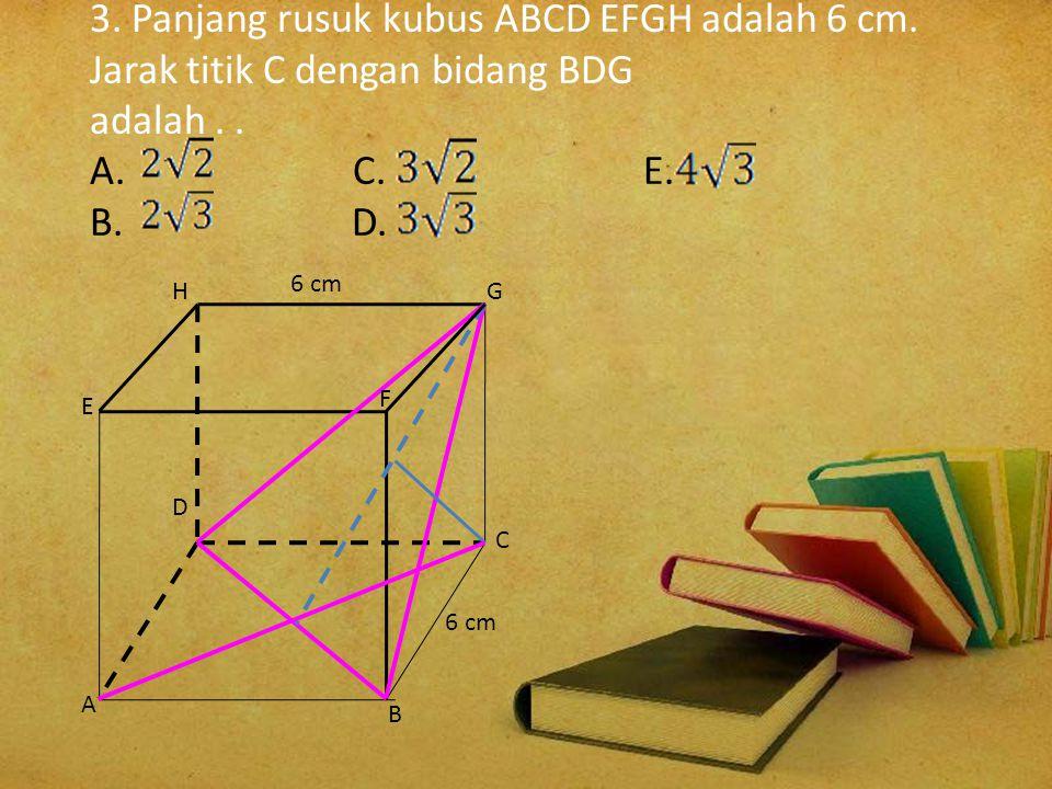 Panjang proyeksi AF pada bidang ACGE adalah AF'. AF = 6 ; FF' = 1/ 2. FH = 1 / 2. 6 = 3 AF' = = = = 3 cm C D H G E AB F F' F A 6 1/2 3 6