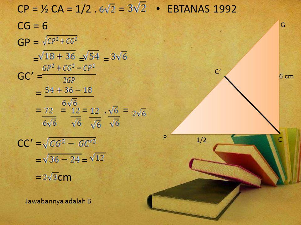 3. Panjang rusuk kubus ABCD EFGH adalah 6 cm. Jarak titik C dengan bidang BDG adalah.. A. C. E. B. D. A B C D E F GH 6 cm