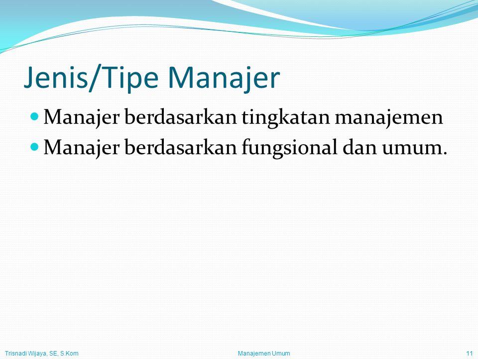Trisnadi Wijaya, SE, S.Kom Manajemen Umum11 Jenis/Tipe Manajer Manajer berdasarkan tingkatan manajemen Manajer berdasarkan fungsional dan umum.