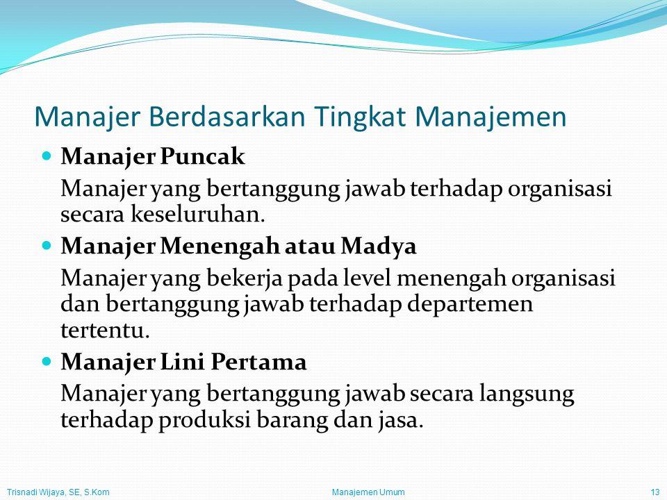 Trisnadi Wijaya, SE, S.Kom Manajemen Umum13 Manajer Berdasarkan Tingkat Manajemen Manajer Puncak Manajer yang bertanggung jawab terhadap organisasi se