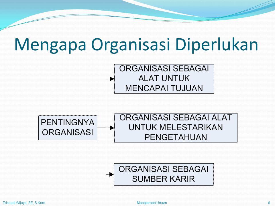 Trisnadi Wijaya, SE, S.Kom Manajemen Umum8 Mengapa Organisasi Diperlukan