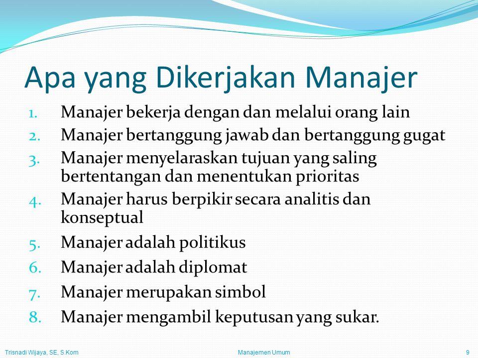 Trisnadi Wijaya, SE, S.Kom Manajemen Umum10 Peran Manajer Peran Informasional (Informational Roles) Pemantau Penyebar (disseminator) Juru bicara Peran Antarpribadi (Interpersonal Roles) Tokoh (figurehead) Pemimpin (leader) Penghubung (liaison) Peran Pengambil Keputusan (Decisional Roles) Wirausahawan (entrepreneur) Pemadam keributan (disturbance handler) Pengalokasi sumber daya (resource allocator) Perunding (negotiator).