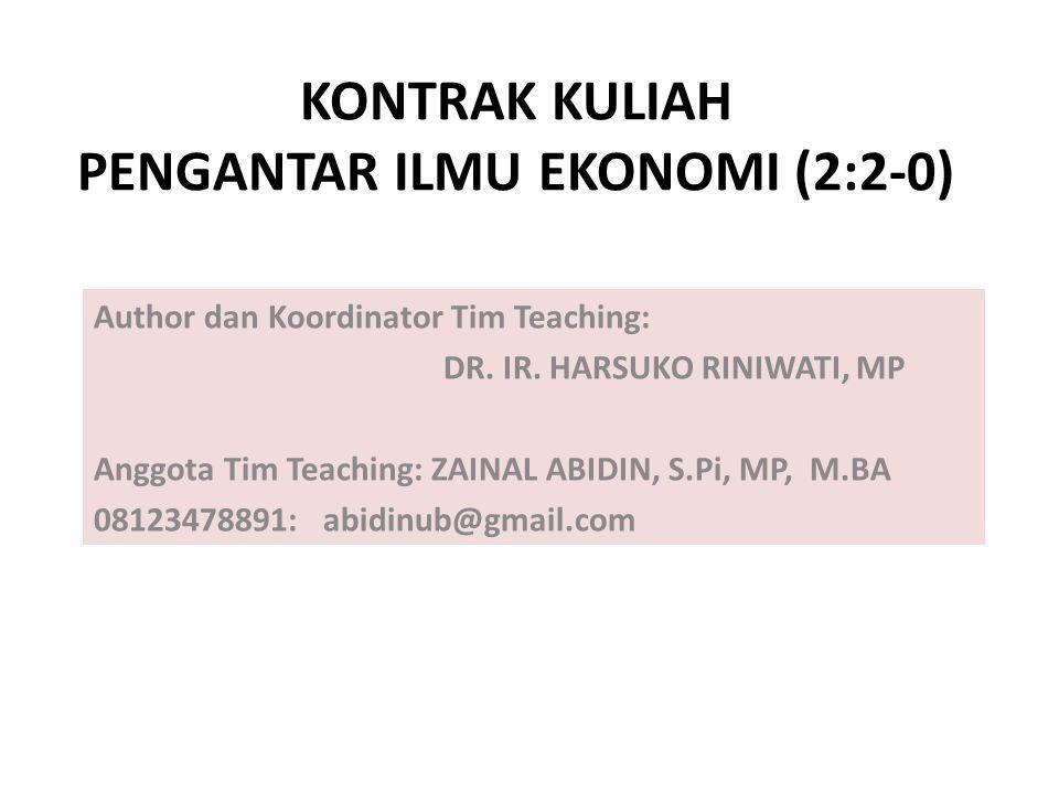 KONTRAK KULIAH 1.Tim Pengampu: 1. Dr. Ir. Harsuko Riniwati,MP (after middle test) : 2.