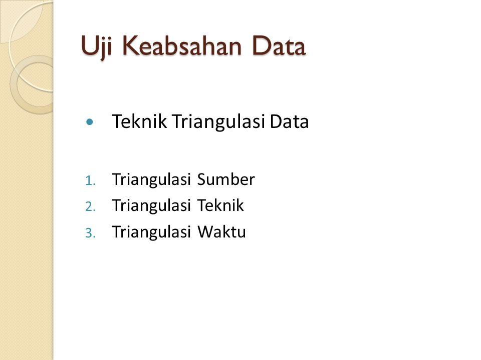Uji Keabsahan Data Teknik Triangulasi Data 1. Triangulasi Sumber 2. Triangulasi Teknik 3. Triangulasi Waktu