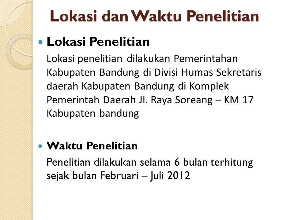 Lokasi dan Waktu Penelitian Lokasi Penelitian Lokasi penelitian dilakukan Pemerintahan Kabupaten Bandung di Divisi Humas Sekretaris daerah Kabupaten B