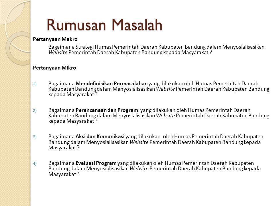 Rumusan Masalah Pertanyaan Makro Bagaimana Strategi Humas Pemerintah Daerah Kabupaten Bandung dalam Menyosialisasikan Website Pemerintah Daerah Kabupaten Bandung kepada Masyarakat .