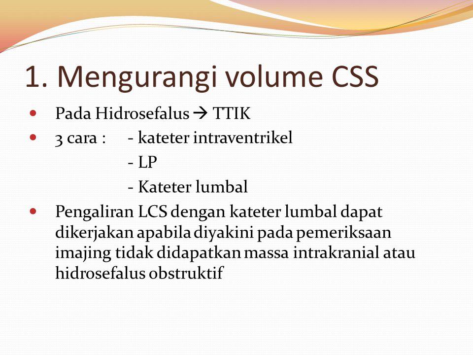 1. Mengurangi volume CSS Pada Hidrosefalus  TTIK 3 cara : - kateter intraventrikel - LP - Kateter lumbal Pengaliran LCS dengan kateter lumbal dapat d