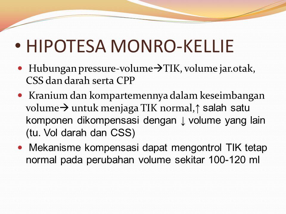 HIPOTESA MONRO-KELLIE Hubungan pressure-volume  TIK, volume jar.otak, CSS dan darah serta CPP Kranium dan kompartemennya dalam keseimbangan volume  untuk menjaga TIK normal, ↑ salah satu komponen dikompensasi dengan ↓ volume yang lain (tu.