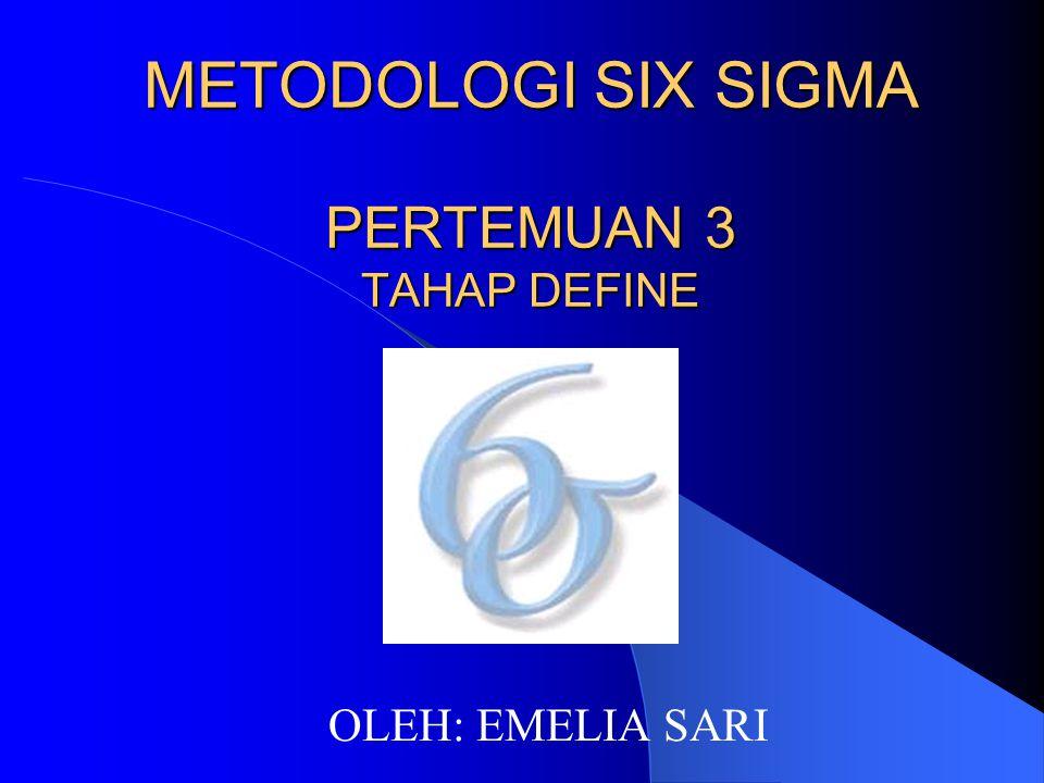 METODOLOGI SIX SIGMA PERTEMUAN 3 TAHAP DEFINE OLEH: EMELIA SARI