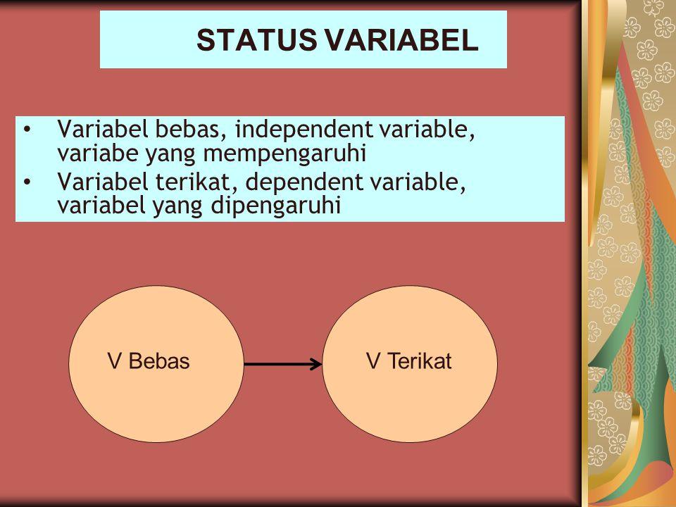 STATUS VARIABEL Variabel bebas, independent variable, variabe yang mempengaruhi Variabel terikat, dependent variable, variabel yang dipengaruhi V Beba