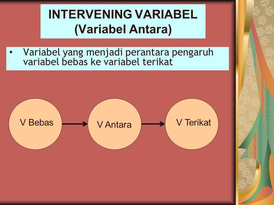 INTERVENING VARIABEL (Variabel Antara) Variabel yang menjadi perantara pengaruh variabel bebas ke variabel terikat V Bebas V Antara V Terikat